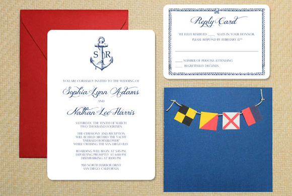 DIY Nautical Wedding Invitation with Bunting – Nautical Wedding Invite