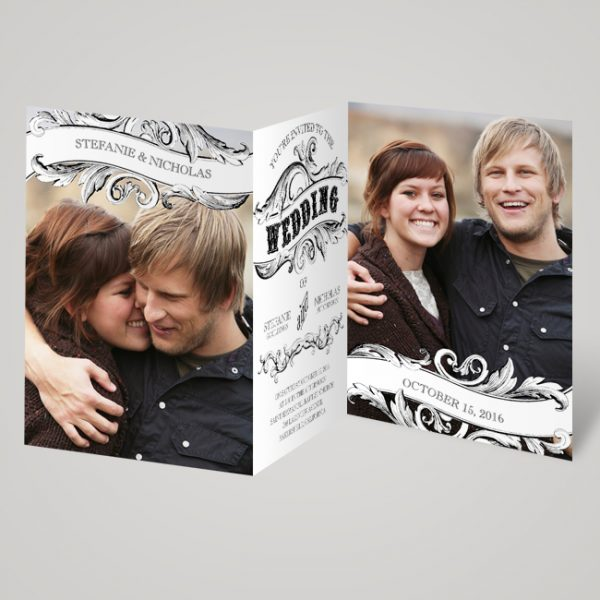 folded photo wedding invite