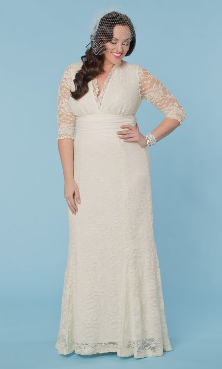 beautiful plus size lace wedding dress