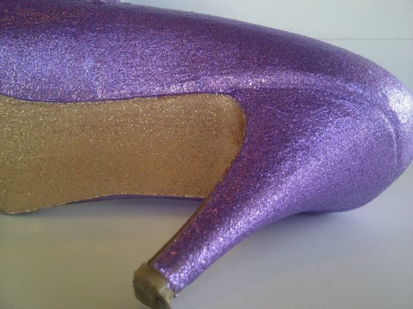 diy purple glitter heels