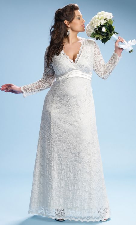 plus size empire waist lace wedding dress
