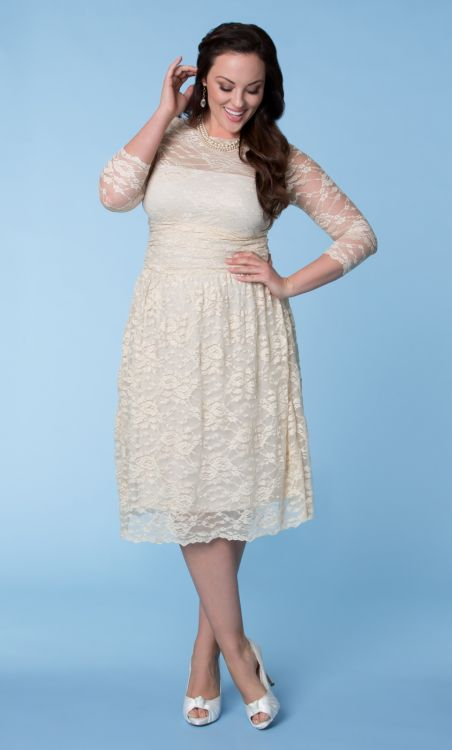 short lace plus size dress