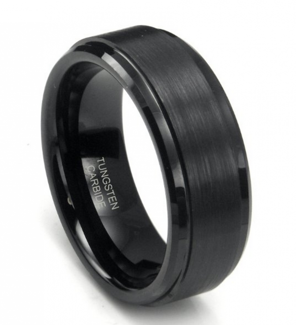 black mens wedding band