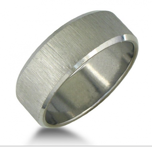 brushed stainless steel wedding band