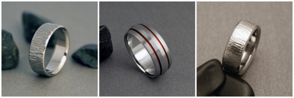 mens textured wedding bands