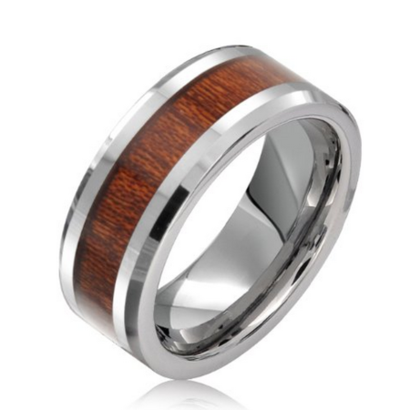 wood and tungsten mens wedding ring