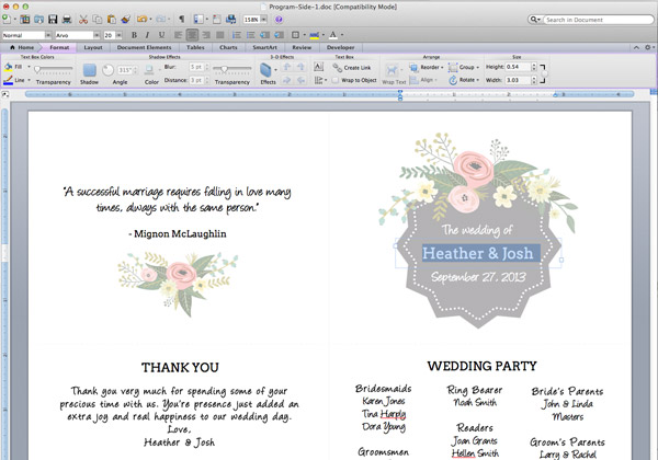 open the word template flower garden ceremony program download