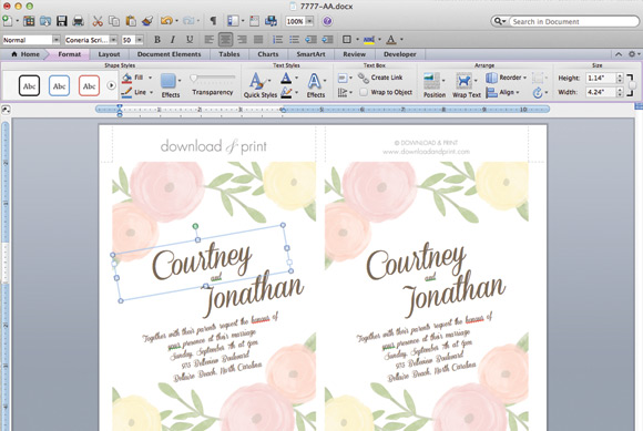 DIY Wedding Invitation Template With Watercolor Flowers - Printable wedding invitation templates