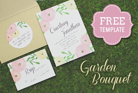 Garden Bouquet Printable Wedding Invitation Template