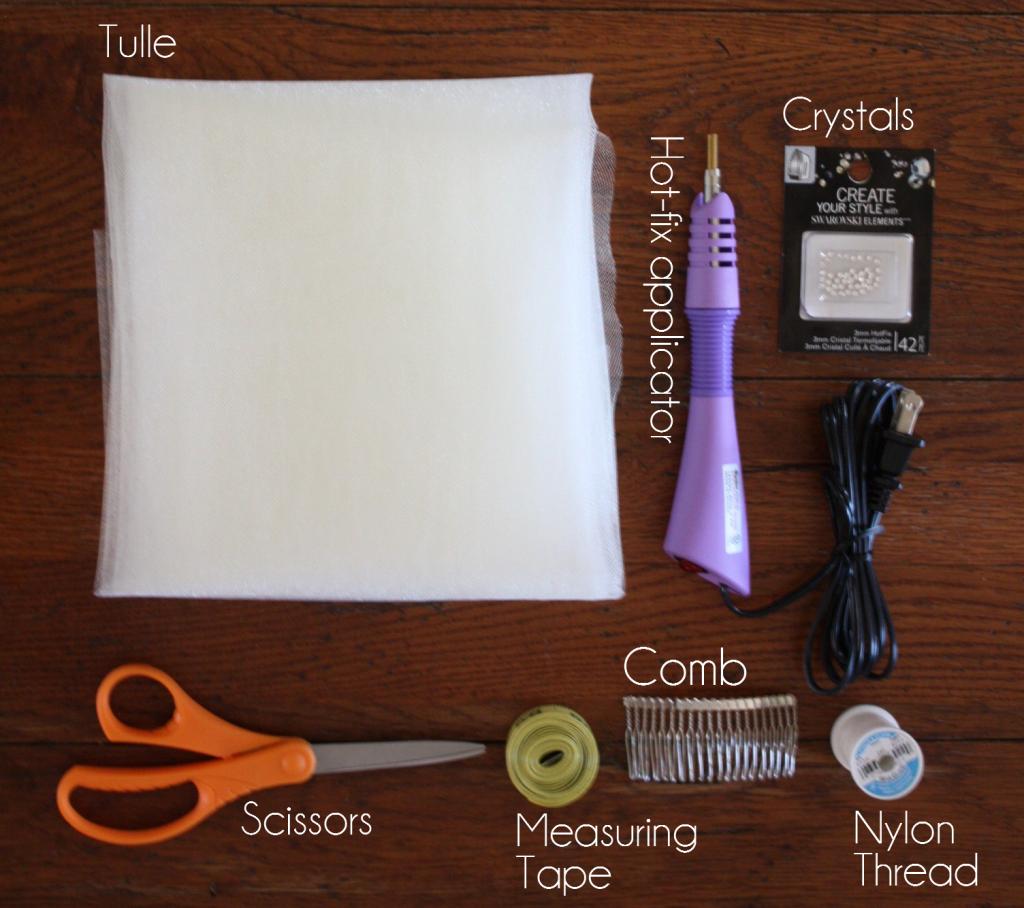 DIY Rhinestone Veil Materials