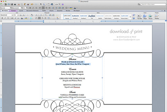 Download And Print Napkin Ring Menu Open Template   Free Word Menu Template