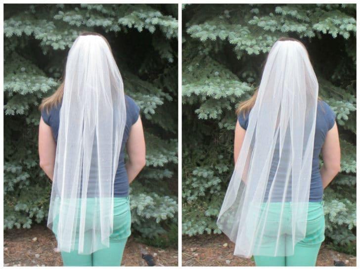 finished diy wedding veil