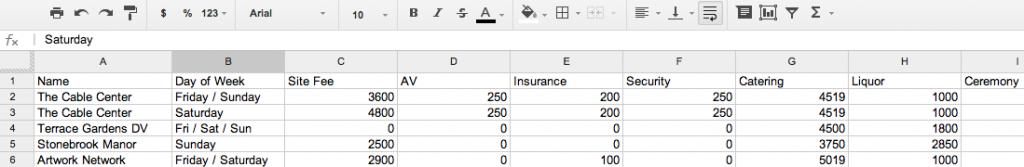 Venue Pricing Spreadsheet