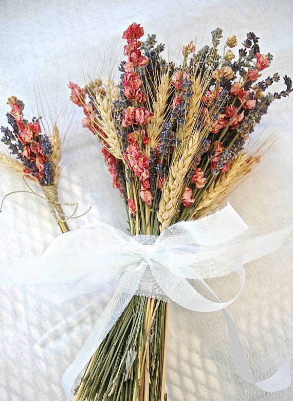 wheat and dried flower bouquet and boutonniere from paulajeansgarden on etsy
