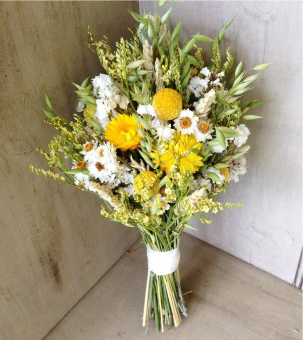 Strawflower, billy ball, wheat and wildflower bouquet from NHWoodscreations on etsy