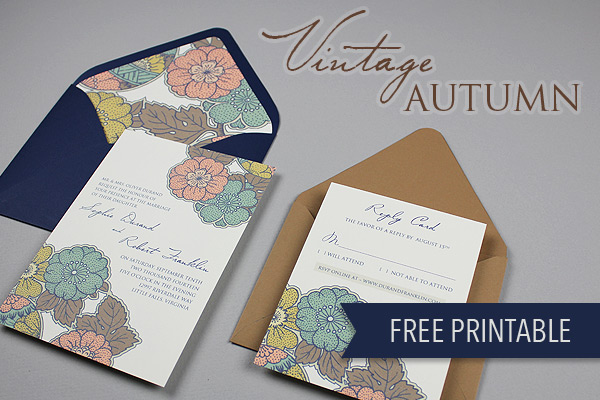 """They"" say nothing is free. We beg the differ. Our list of wedding freebies will get you free wedding stuff with just the click of your mouse, including this Vintage Autumn Wedding Invite Set."