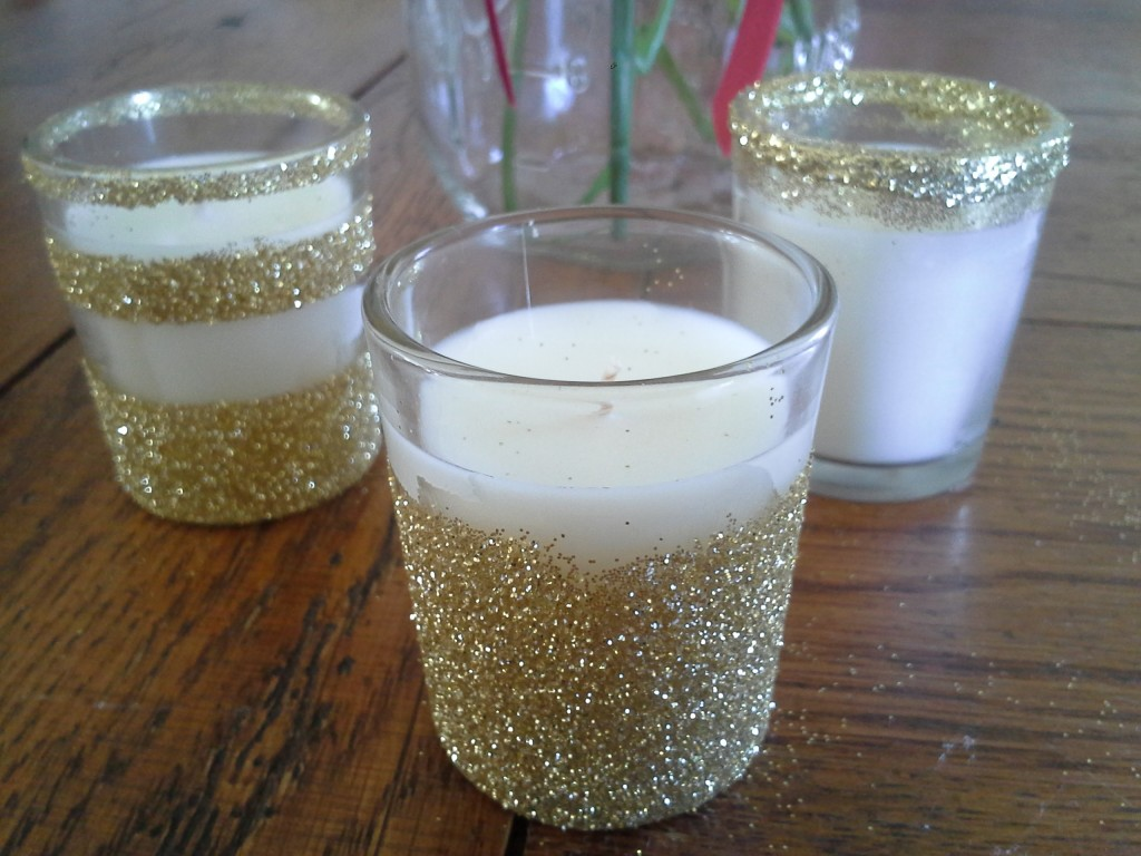 diy glitter votives the budget savvy bride. Black Bedroom Furniture Sets. Home Design Ideas