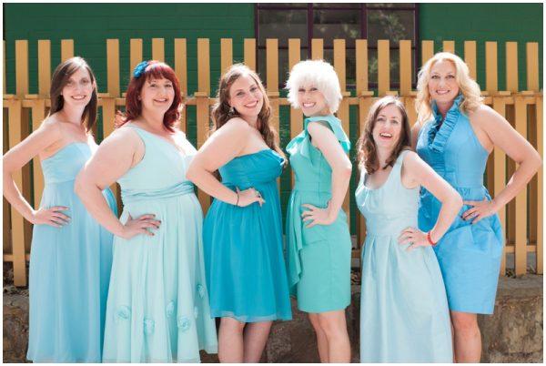 mismatched blue bridesmaids