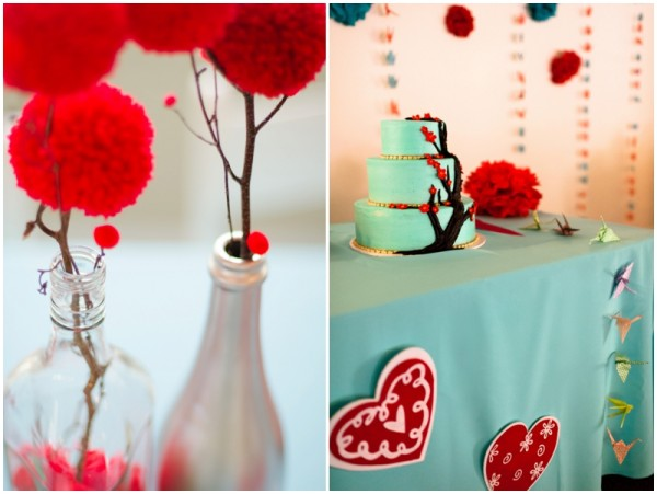 red and aqua wedding details