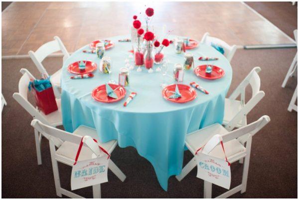 red and aqua wedding reception