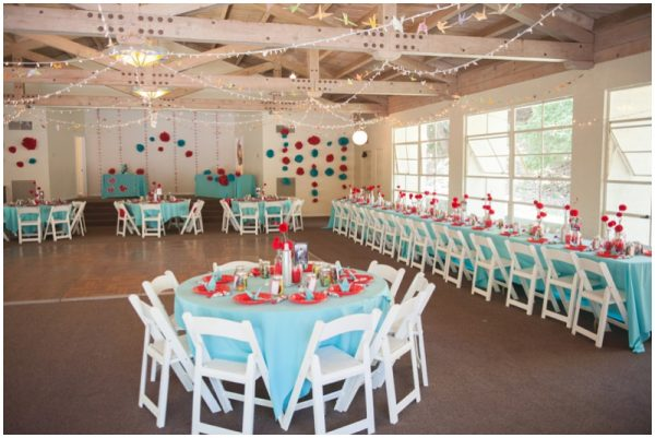 red and aqua wedding reception