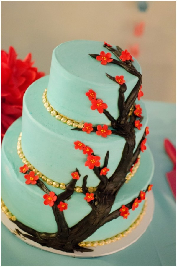 red and aqua wedding cake