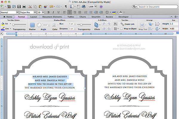 Free Printable Die Cut Wedding Invitation Add Your Text