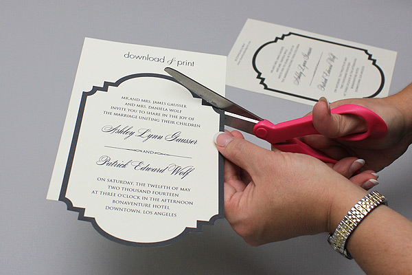trim free printable die cut wedding invitation