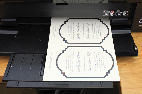 print the free printable die cut wedding invitation