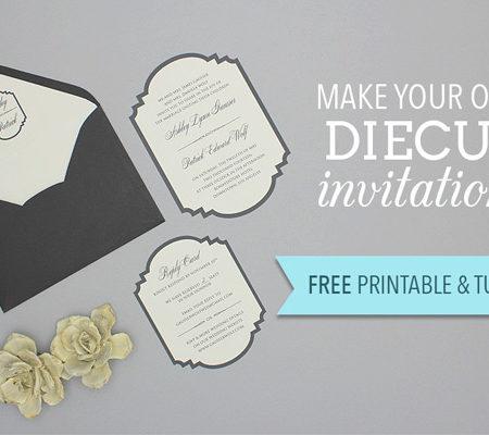 free printable die cut wedding invitation