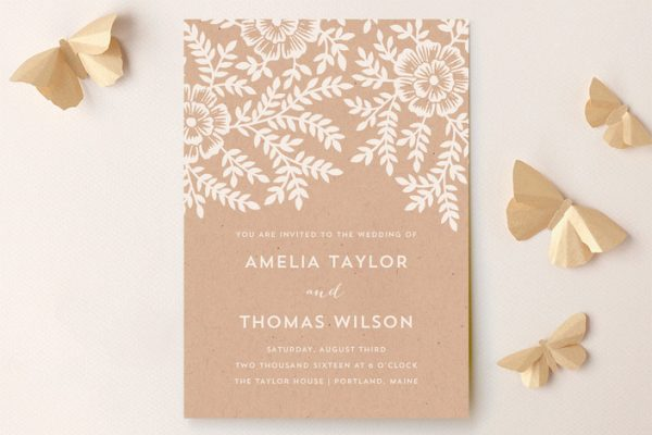 minted - less rustic chic wedding invitation