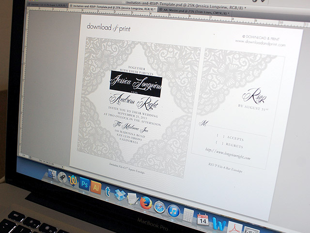 Printable wedding invitation template with lace design