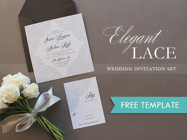 free printable elegant lace wedding invitation - Free Templates For Wedding Invitations