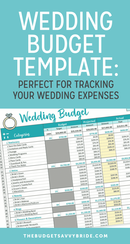 wedding budget template   wedding budget spreadsheet from Savvy Spreadsheets