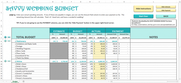 Savvy Spreadsheets Wedding Budget Spreadsheets – Wedding Budget Worksheet Excel