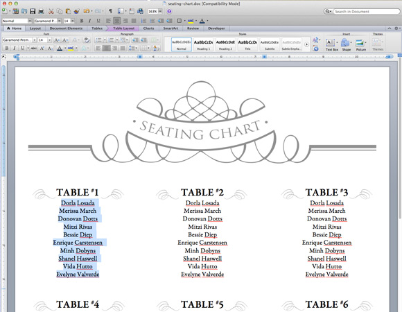 DIY seating chart from the Budget Savvy Bride