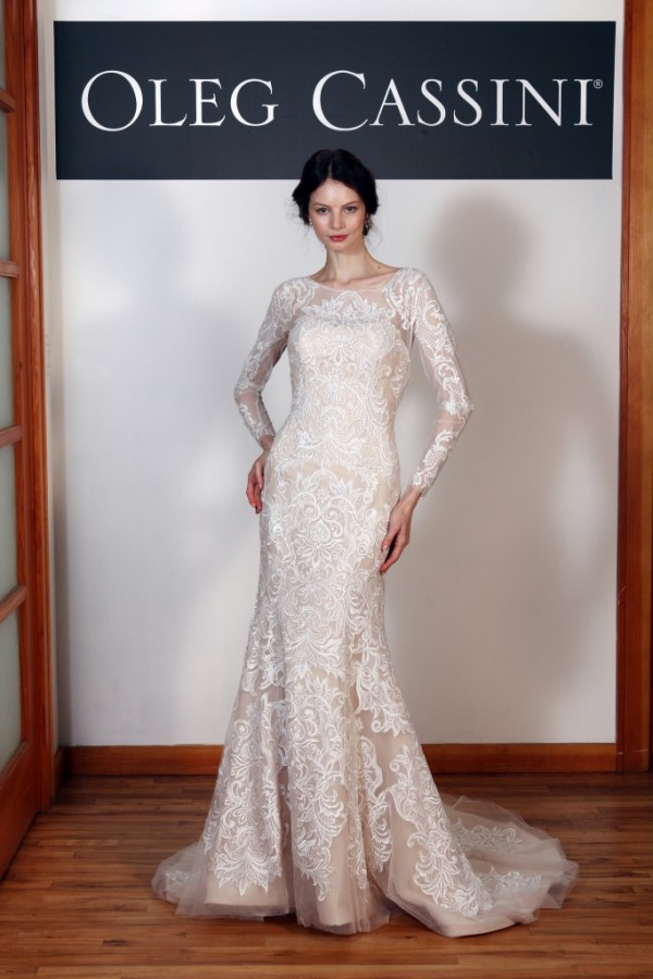 David's Bridal - Style CWG670 - $1450 Gorgeous bold lace over a nude base adds drama to this classic silhouette. Fit and flare style - love the long sleeves. Perfect for a winter or fall wedding!