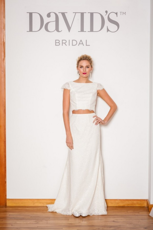 David's Bridal - Style KP3699 - $699 Crop tops for wedding -- it's happening y'all. This style adds a modern and feminine edge to a two piece wedding gown. For the bold bride (with killer abs) who wants to show off. :)
