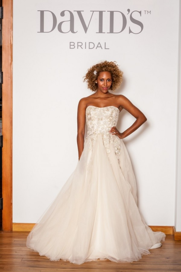 David's Bridal - Style MK3724 - $1150 Tulle and lace appliques make this style incredibly feminine and gorgeous. A subtle gold sheen to it for extra glam.