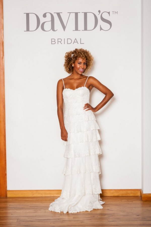 David's Bridal - Style MS251115 - $1350 A waterfall of lace ruffles makes up this love gown, paired with a boned bustier sweetheart style top - makes for a modern look perfect for a garden wedding.