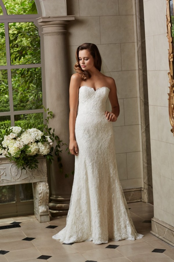 Wtoo by Watters - Michelle - $1078 Slip into this simple and romantic, Chantilly lace dress with lace motifs conturing the sweetheart neckline and bodice and lace covered buttons down the train. Chapel train. Obsessed with this one.