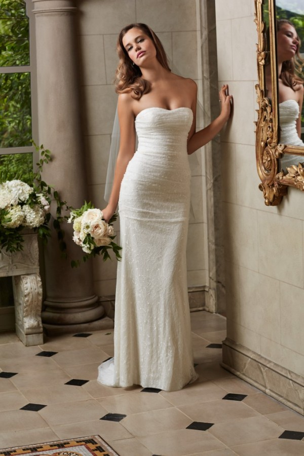 Wtoo by Watters - Maia - $785 Figure hugging, slim silhouette in all over Chantilly lace with ruching along the bodice for a simple, flattering fit. Puddle train.