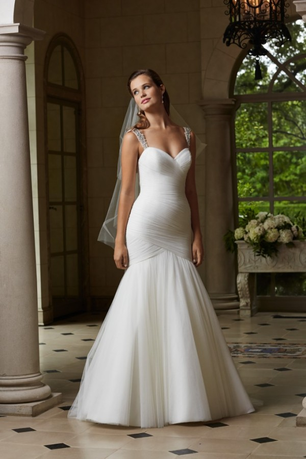 Wtoo by Watters - Holly - $1078 This soft net, fit and flare gown features beaded straps on illusion tulle, ruching that hugs every curve, and covered buttons on the back. Chapel train. That tulle - I die.