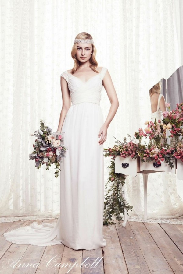 Anna Campbell - Freja - 1,699.00 AUD=$1,495.73 USD 100% silk, bust and lining, Slim line silk chiffon skirt, Adjustable chiffon sleeves that can be made thicker or thinner depending on preference, V-neck bust with push up padding, Silk chiffon train with bustle.