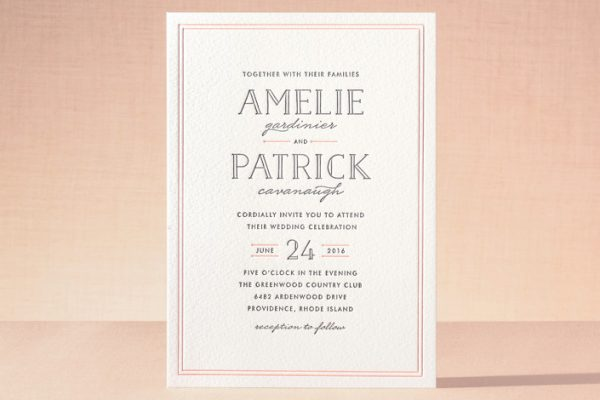 minted - pink wedding invitation - luxe