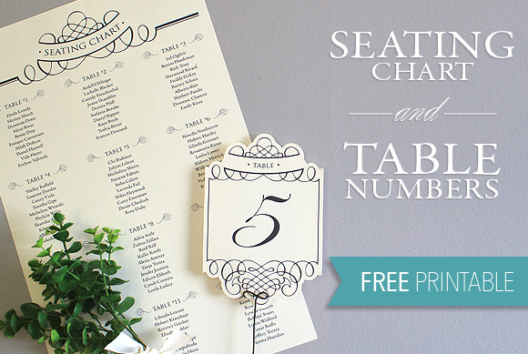 Elegant diy table numbers seating chart the budget savvy bride printable seating chart and table numbers solutioingenieria Images