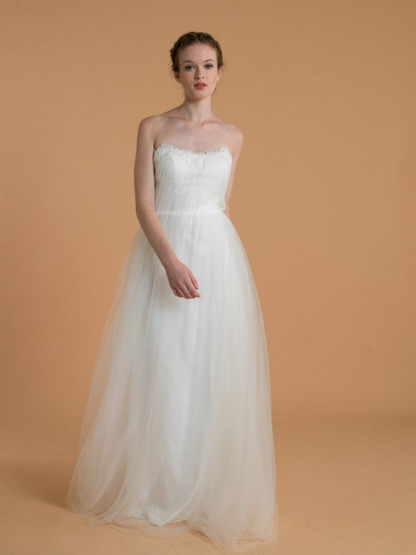 Love, Yu Bridal - Isabel - $1,400.00 Strapless tulle gown with chorded lace detail on bodice. We love the dreamy and ethereal vibe.