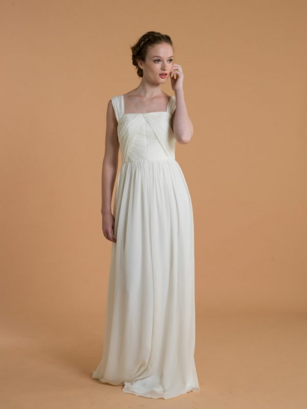 Love, Yu Bridal - Sabine - 1,100.00 Sleeveless ruched bodice sheath gown from Love Yu - could be dressed up or down depending on the formality of the wedding.
