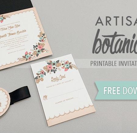 DIY delicate floral wedding invitation suite