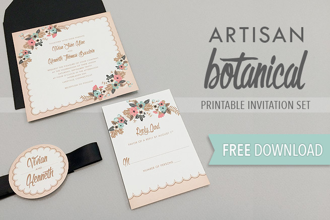 Free Delicate Floral Wedding Invitation Suite The Budget Savvy Bride - Wedding invitation templates: wedding invitation template download and print